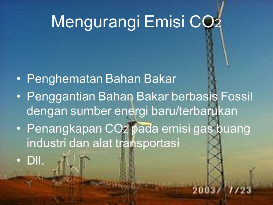 Mengurangi Emisi CO 2 Penghematan Bahan Bakar Penggantian Bahan Bakar berbasis Fossil dengan sumber energi baru/terbarukan Penangkapan CO 2 pada emisi gas buang industri dan alat transportasi Dll.