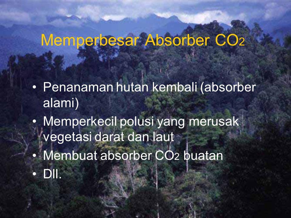 Memperbesar Absorber CO 2 Penanaman hutan kembali (absorber alami) Memperkecil polusi yang merusak vegetasi darat dan laut Membuat absorber CO 2 buatan Dll.