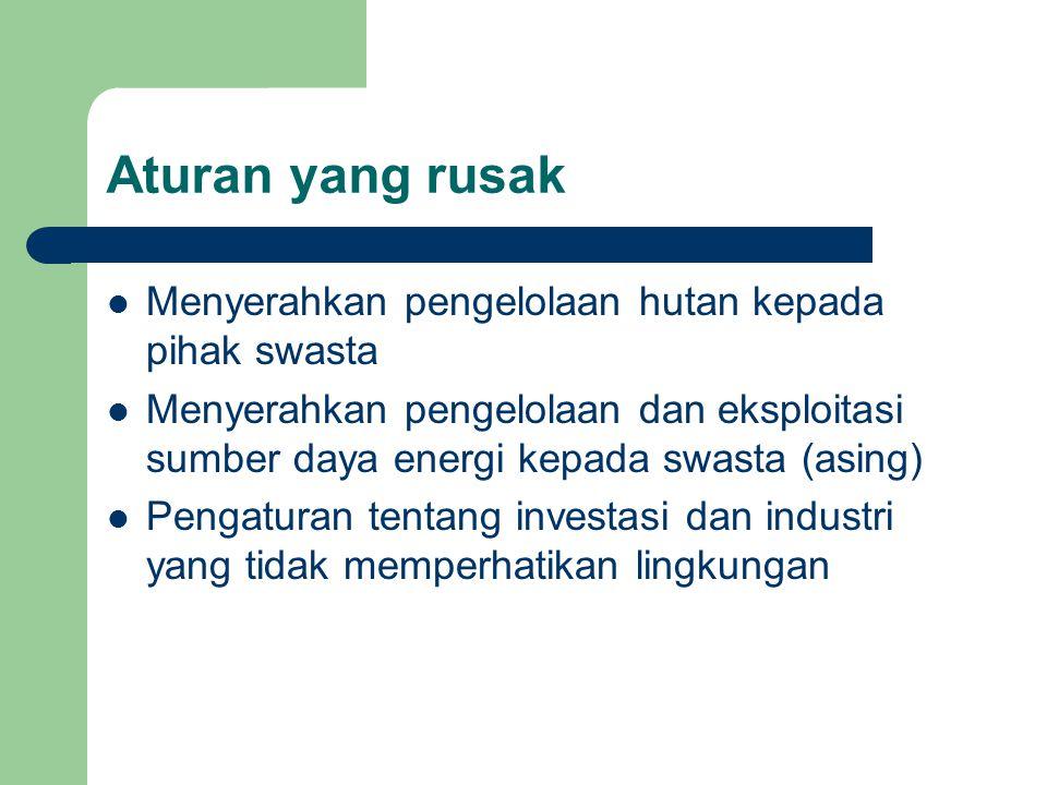 Aturan yang rusak Menyerahkan pengelolaan hutan kepada pihak swasta Menyerahkan pengelolaan dan eksploitasi sumber daya energi kepada swasta (asing) P