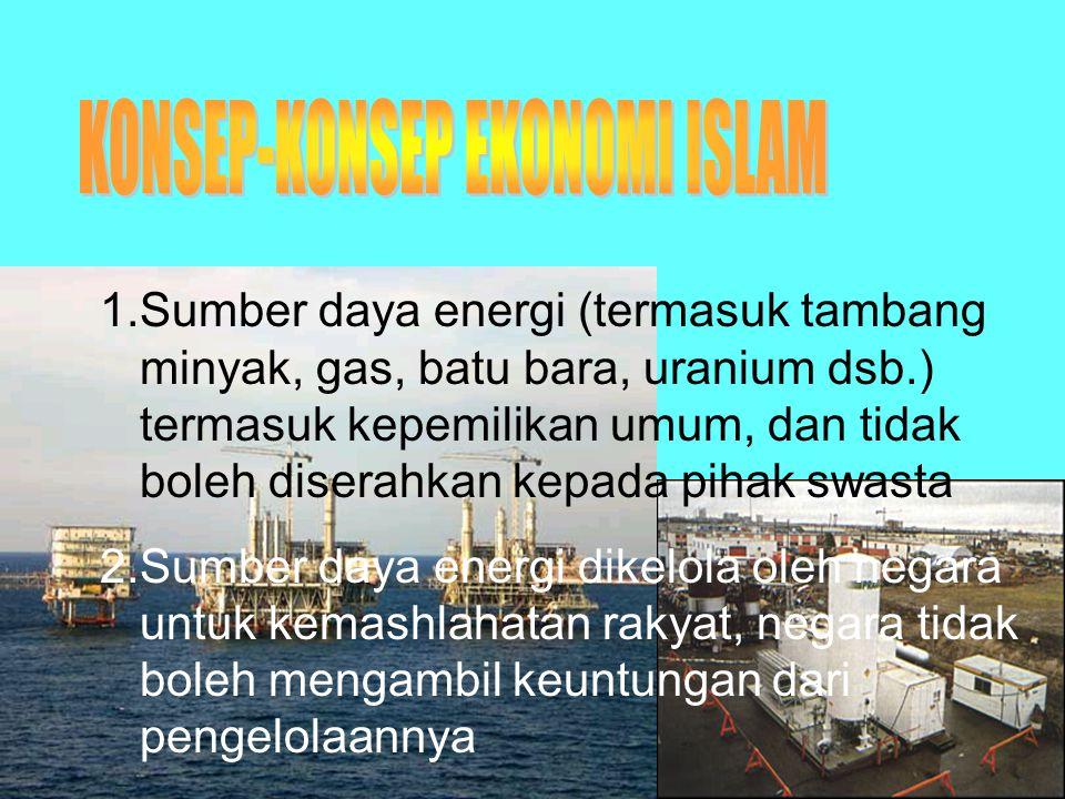 1.Sumber daya energi (termasuk tambang minyak, gas, batu bara, uranium dsb.) termasuk kepemilikan umum, dan tidak boleh diserahkan kepada pihak swasta