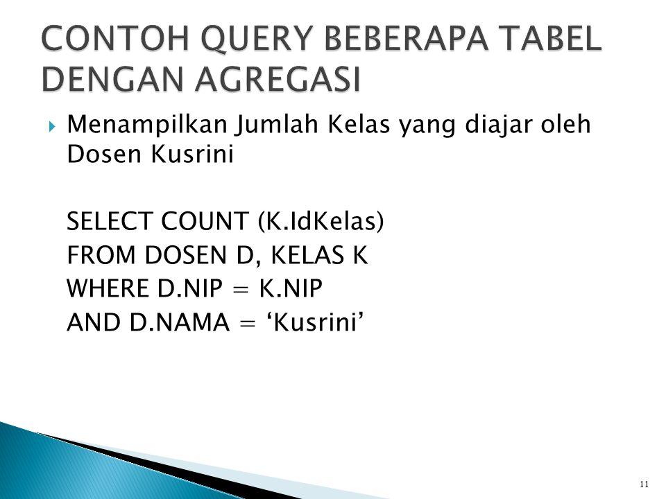  Menampilkan Jumlah Kelas yang diajar oleh Dosen Kusrini SELECT COUNT (K.IdKelas) FROM DOSEN D, KELAS K WHERE D.NIP = K.NIP AND D.NAMA = 'Kusrini' 11