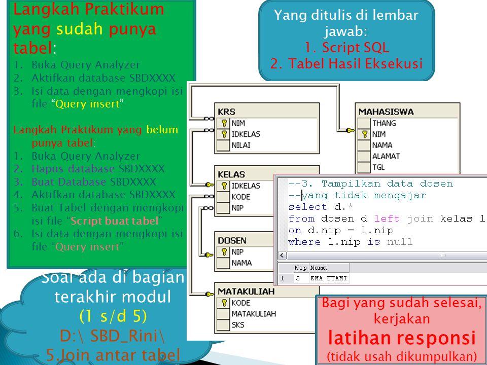 18 Yang ditulis di lembar jawab: 1.Script SQL 2.Tabel Hasil Eksekusi Soal ada di bagian terakhir modul (1 s/d 5) D:\ SBD_Rini\ 5.Join antar tabel Lang