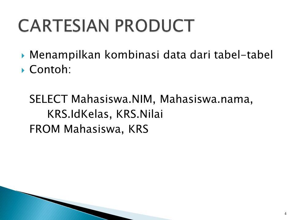 SELECT alias1.kolom, alias2.kolom FROM tabel1 alias1, tabel2 alias2 WHERE kondisi Contoh: SELECT M.NIM, M.nama, K.IdKelas, K.Nilai FROM Mahasiswa M, KRS K 5