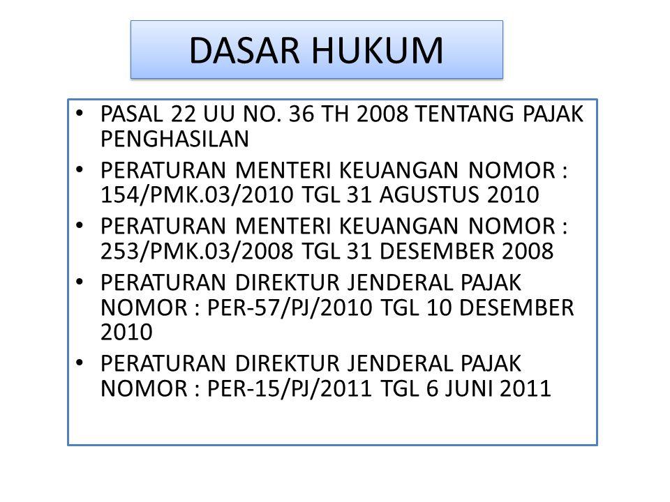 DASAR HUKUM PASAL 22 UU NO. 36 TH 2008 TENTANG PAJAK PENGHASILAN PERATURAN MENTERI KEUANGAN NOMOR : 154/PMK.03/2010 TGL 31 AGUSTUS 2010 PERATURAN MENT