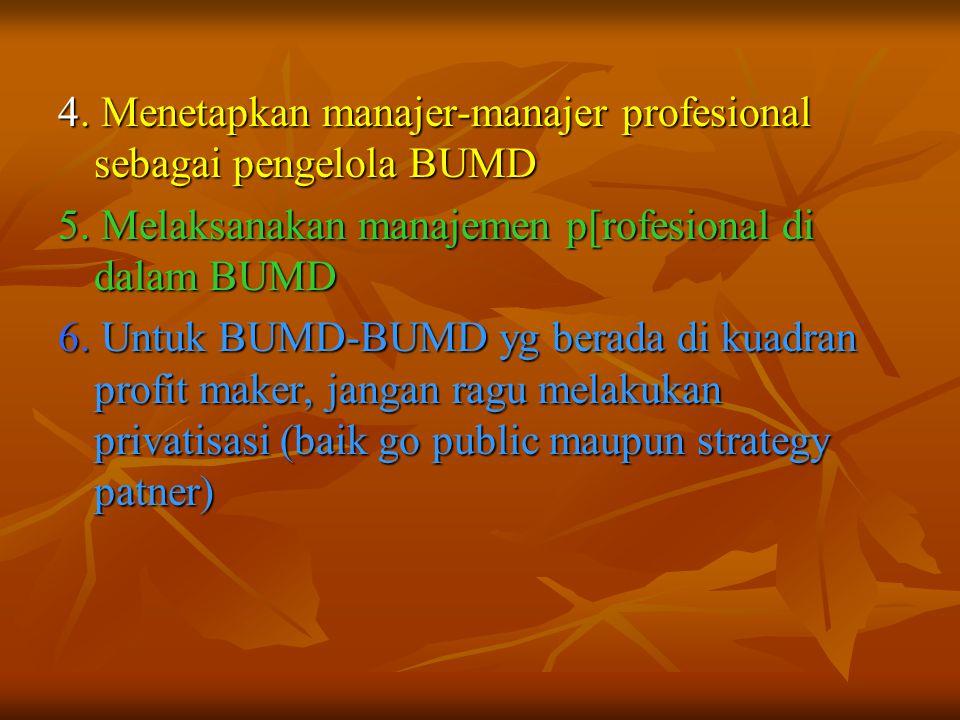 4. Menetapkan manajer-manajer profesional sebagai pengelola BUMD 5. Melaksanakan manajemen p[rofesional di dalam BUMD 6. Untuk BUMD-BUMD yg berada di