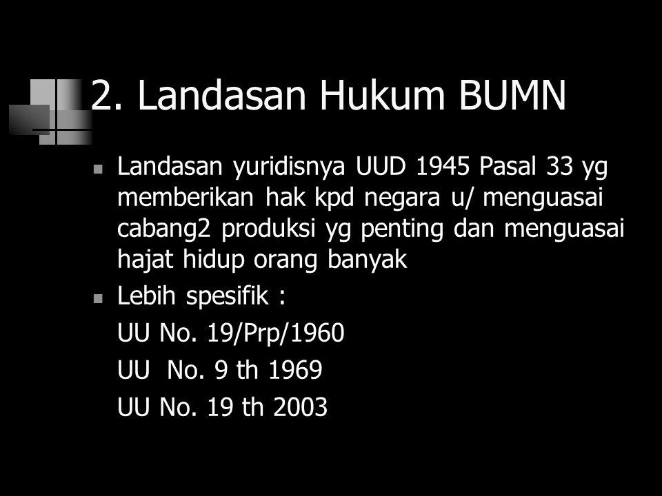 2. Landasan Hukum BUMN Landasan yuridisnya UUD 1945 Pasal 33 yg memberikan hak kpd negara u/ menguasai cabang2 produksi yg penting dan menguasai hajat