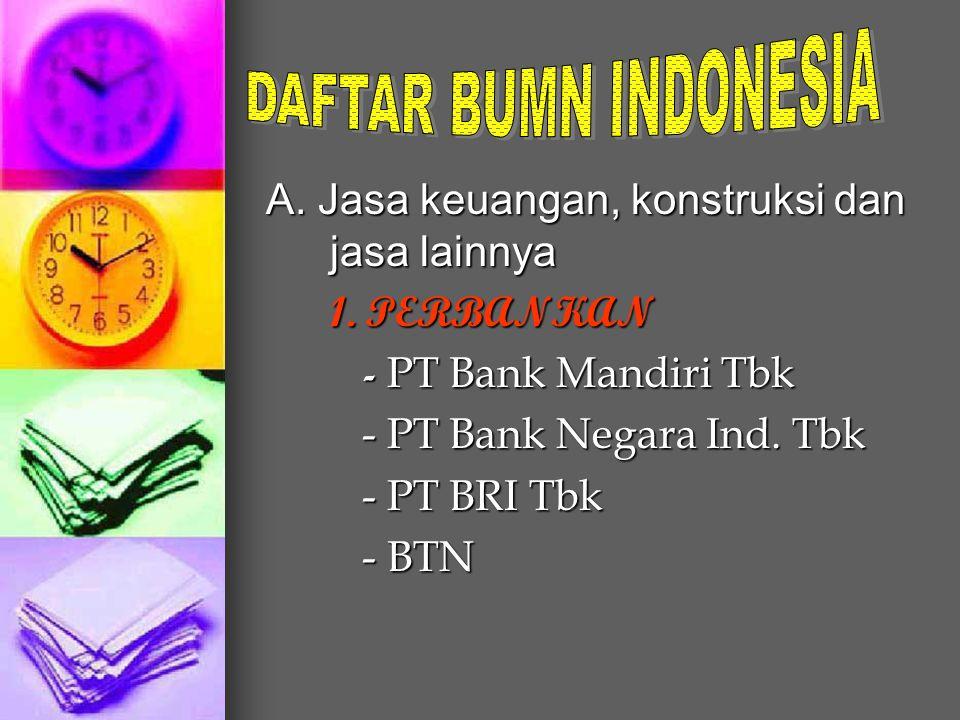 A. Jasa keuangan, konstruksi dan jasa lainnya 1. PERBANKAN - PT Bank Mandiri Tbk - PT Bank Negara Ind. Tbk - PT BRI Tbk - BTN
