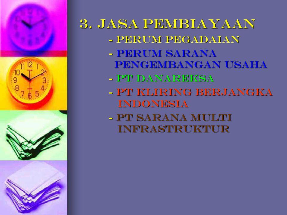 3. JASA PEMBIAYAAN - Perum Pegadaian - Perum Sarana Pengembangan Usaha - PT Danareksa - PT Kliring Berjangka Indonesia - PT Sarana Multi Infrastruktur