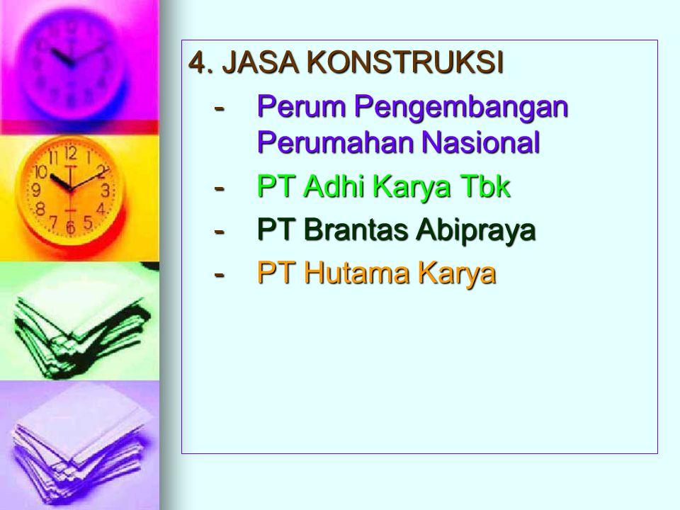 4. JASA KONSTRUKSI - Perum Pengembangan Perumahan Nasional - PT Adhi Karya Tbk - PT Brantas Abipraya - PT Hutama Karya