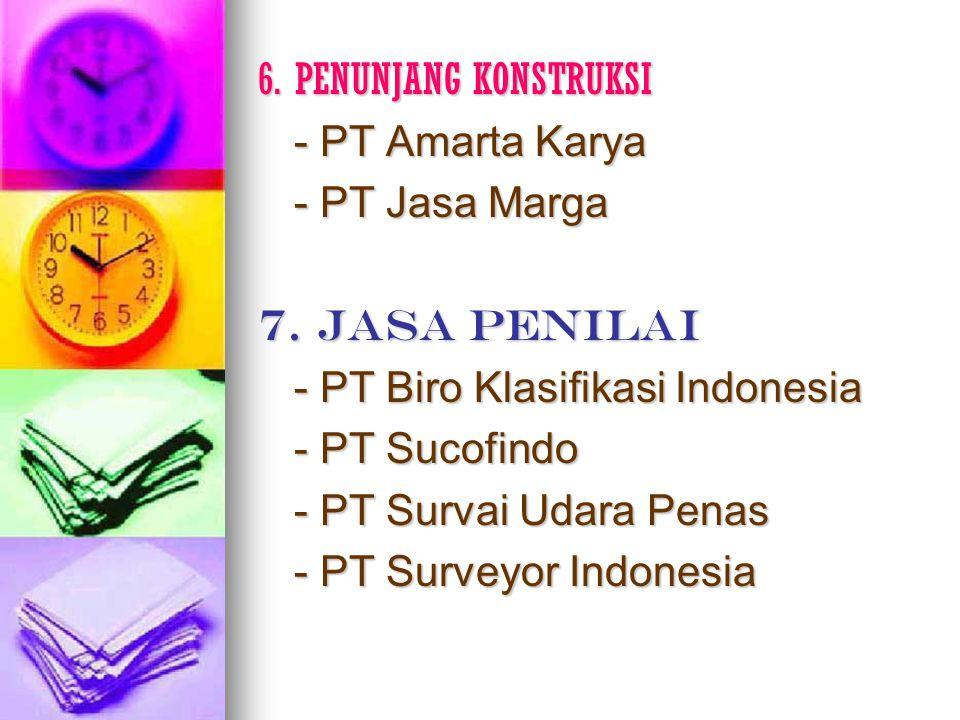 6. PENUNJANG KONSTRUKSI - PT Amarta Karya - PT Jasa Marga 7. JASA PENILAI - PT Biro Klasifikasi Indonesia - PT Sucofindo - PT Survai Udara Penas - PT