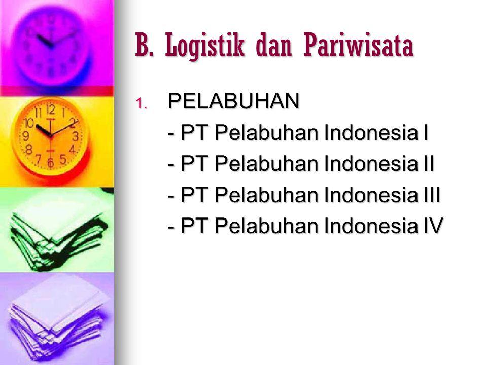 B. Logistik dan Pariwisata 1. PELABUHAN - PT Pelabuhan Indonesia I - PT Pelabuhan Indonesia II - PT Pelabuhan Indonesia III - PT Pelabuhan Indonesia I