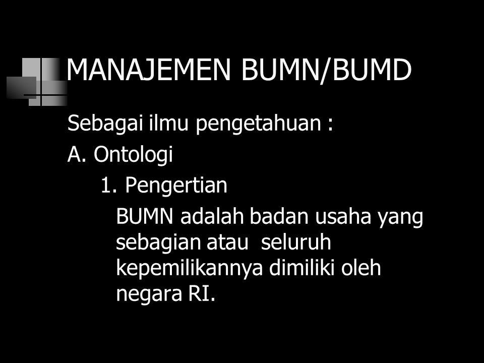 Pasal 1 UU No.19/Prp/1960 Perusahaan negara atau BUMN adl semua perusahaan dlm bentuk apapun yg modalnya u/ seluruhnya mrpk kekayaan negara Republik Indonesia, kecuali jika ditentukan lain dgn atau berdasarkan undang-undang