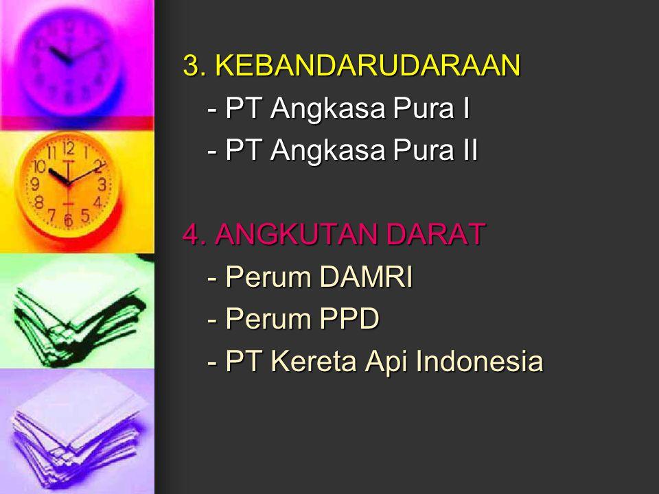 3. KEBANDARUDARAAN - PT Angkasa Pura I - PT Angkasa Pura II 4. ANGKUTAN DARAT - Perum DAMRI - Perum PPD - PT Kereta Api Indonesia
