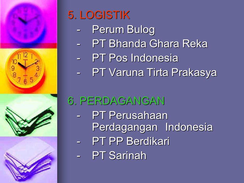 5. LOGISTIK - Perum Bulog - PT Bhanda Ghara Reka - PT Pos Indonesia - PT Varuna Tirta Prakasya 6. PERDAGANGAN -PT Perusahaan Perdagangan Indonesia - P