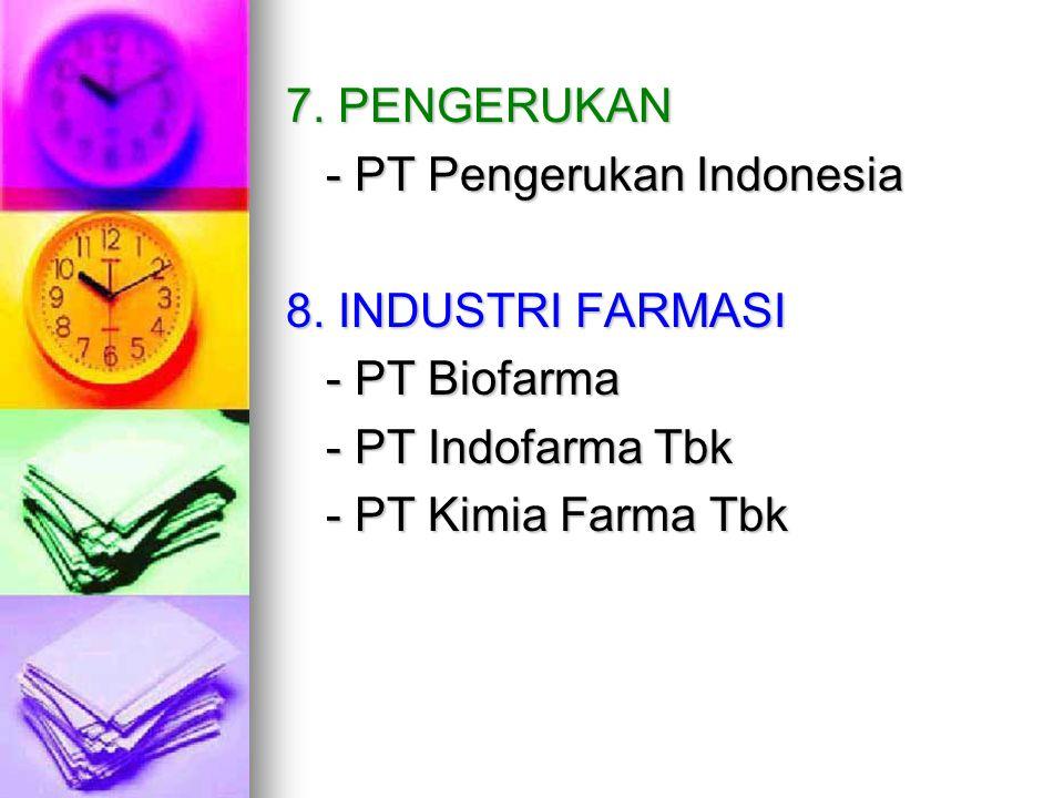 7. PENGERUKAN - PT Pengerukan Indonesia 8. INDUSTRI FARMASI - PT Biofarma - PT Indofarma Tbk - PT Kimia Farma Tbk