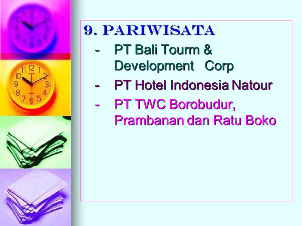 9. PARIWISATA - PT Bali Tourm & Development Corp - PT Hotel Indonesia Natour - PT TWC Borobudur, Prambanan dan Ratu Boko
