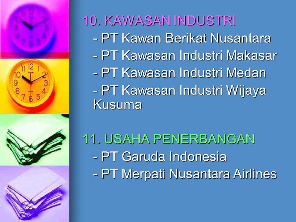 10. KAWASAN INDUSTRI - PT Kawan Berikat Nusantara - PT Kawasan Industri Makasar - PT Kawasan Industri Medan - PT Kawasan Industri Wijaya Kusuma 11. US