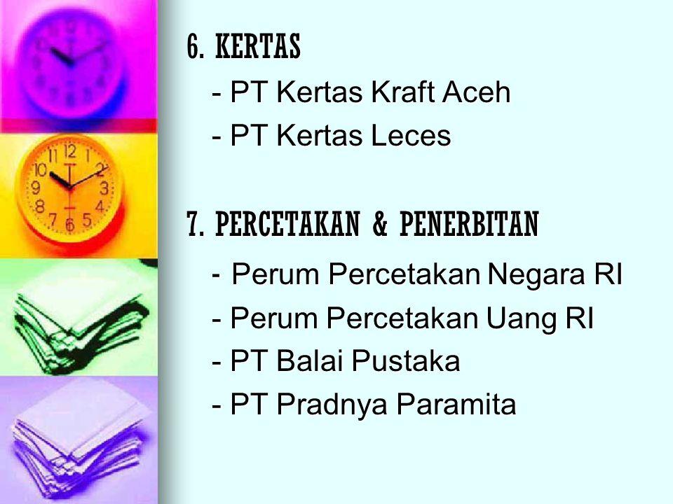 6. KERTAS - PT Kertas Kraft Aceh - PT Kertas Leces 7. PERCETAKAN & PENERBITAN - Perum Percetakan Negara RI - Perum Percetakan Uang RI - PT Balai Pusta