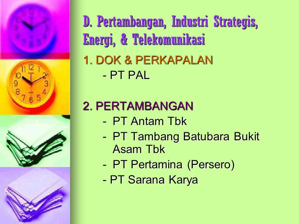 D. Pertambangan, Industri Strategis, Energi, & Telekomunikasi 1. DOK & PERKAPALAN - PT PAL 2. PERTAMBANGAN - PT Antam Tbk - PT Tambang Batubara Bukit