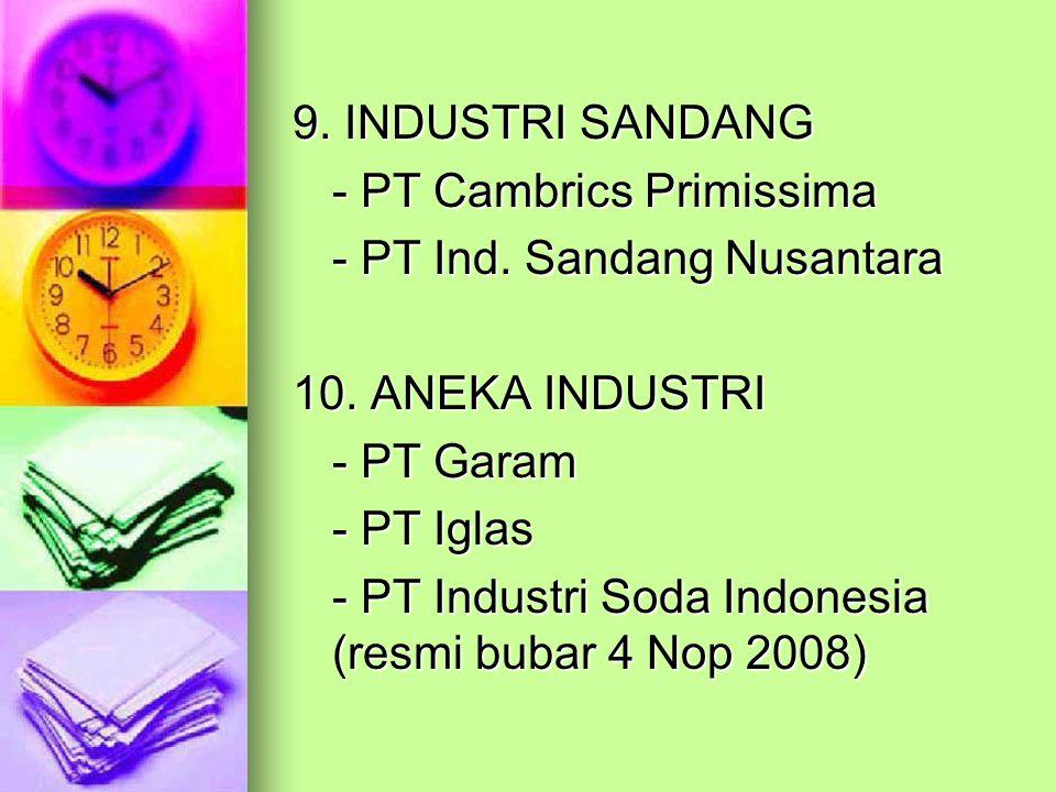 9. INDUSTRI SANDANG - PT Cambrics Primissima - PT Ind. Sandang Nusantara 10. ANEKA INDUSTRI - PT Garam - PT Iglas - PT Industri Soda Indonesia (resmi