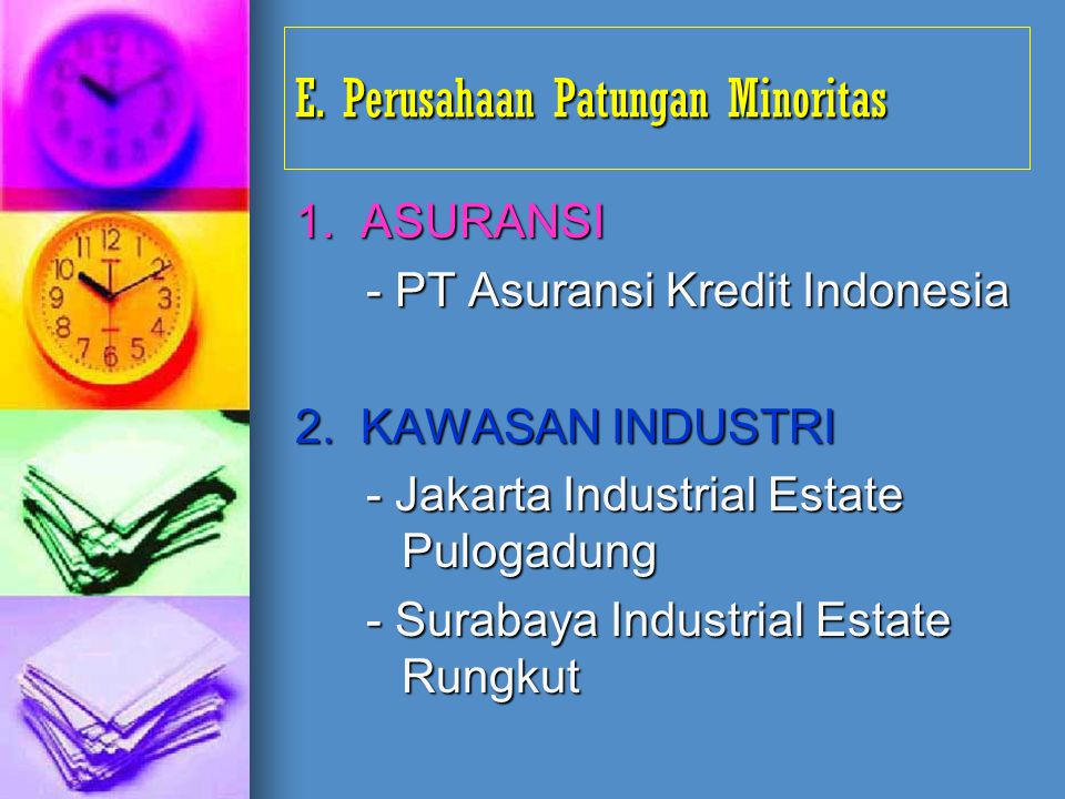 E. Perusahaan Patungan Minoritas 1. ASURANSI - PT Asuransi Kredit Indonesia 2. KAWASAN INDUSTRI - Jakarta Industrial Estate Pulogadung - Surabaya Indu
