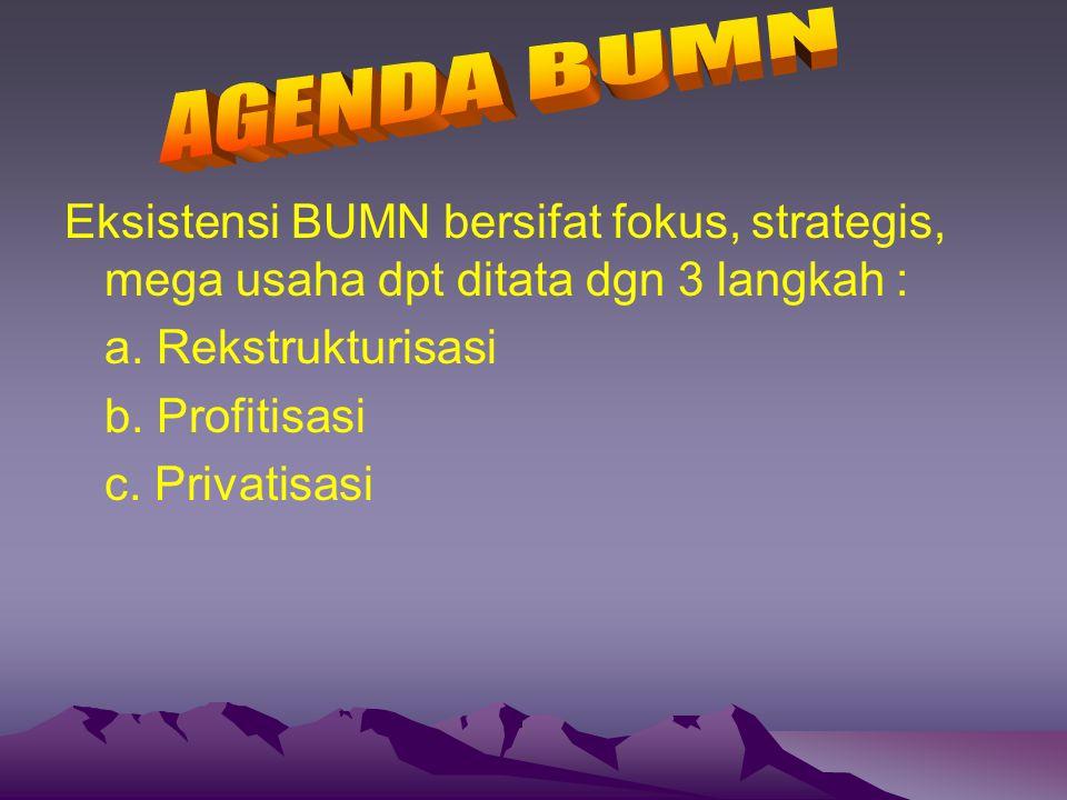 Eksistensi BUMN bersifat fokus, strategis, mega usaha dpt ditata dgn 3 langkah : a. Rekstrukturisasi b. Profitisasi c. Privatisasi