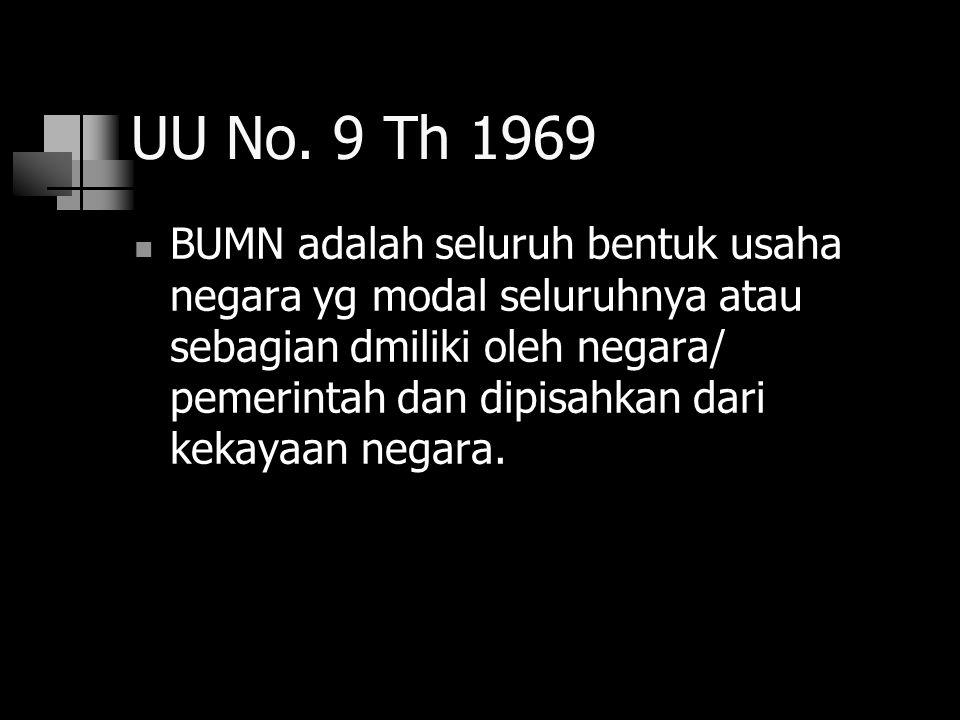 UU No. 9 Th 1969 BUMN adalah seluruh bentuk usaha negara yg modal seluruhnya atau sebagian dmiliki oleh negara/ pemerintah dan dipisahkan dari kekayaa