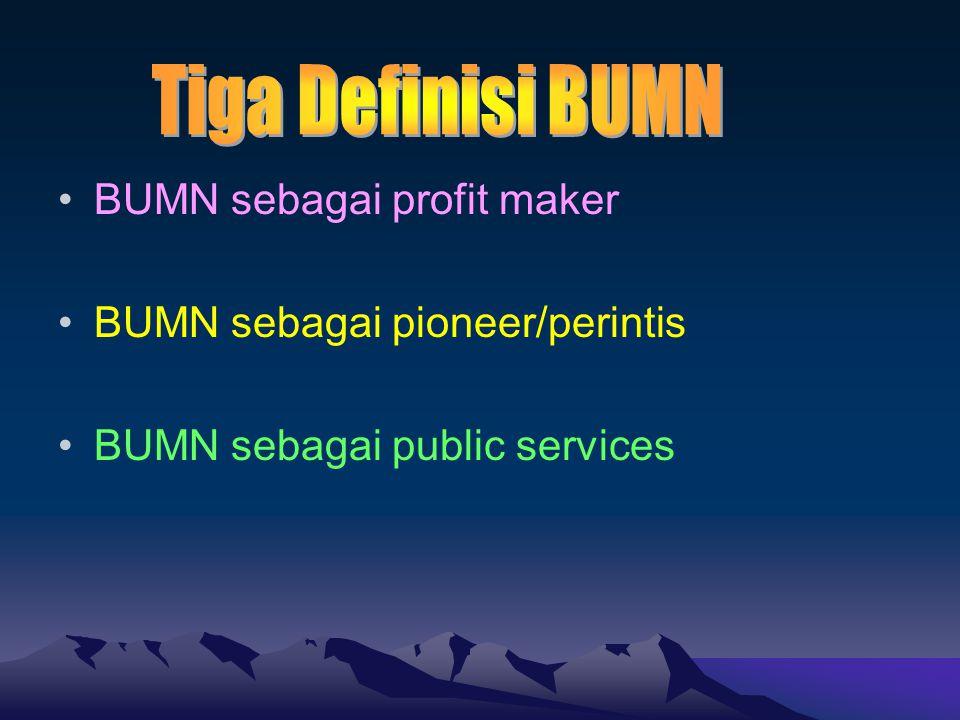 BUMN sebagai profit maker BUMN sebagai pioneer/perintis BUMN sebagai public services