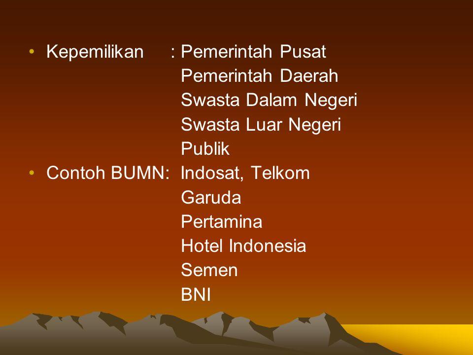 Kepemilikan: Pemerintah Pusat Pemerintah Daerah Swasta Dalam Negeri Swasta Luar Negeri Publik Contoh BUMN: Indosat, Telkom Garuda Pertamina Hotel Indo