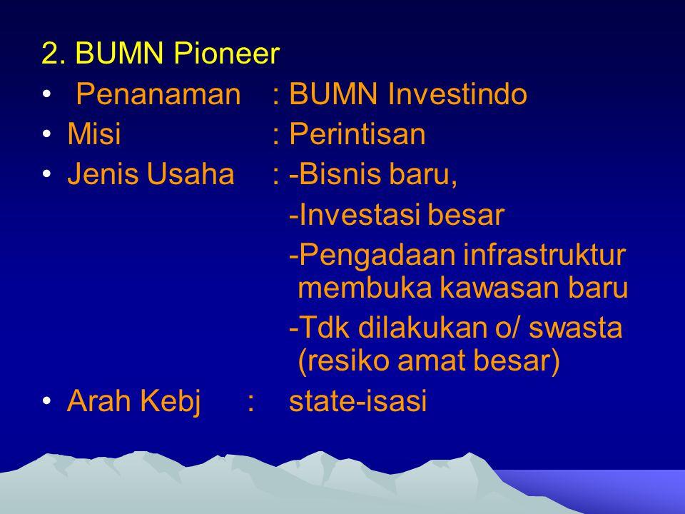 2. BUMN Pioneer Penanaman : BUMN Investindo Misi : Perintisan Jenis Usaha : -Bisnis baru, -Investasi besar -Pengadaan infrastruktur membuka kawasan ba