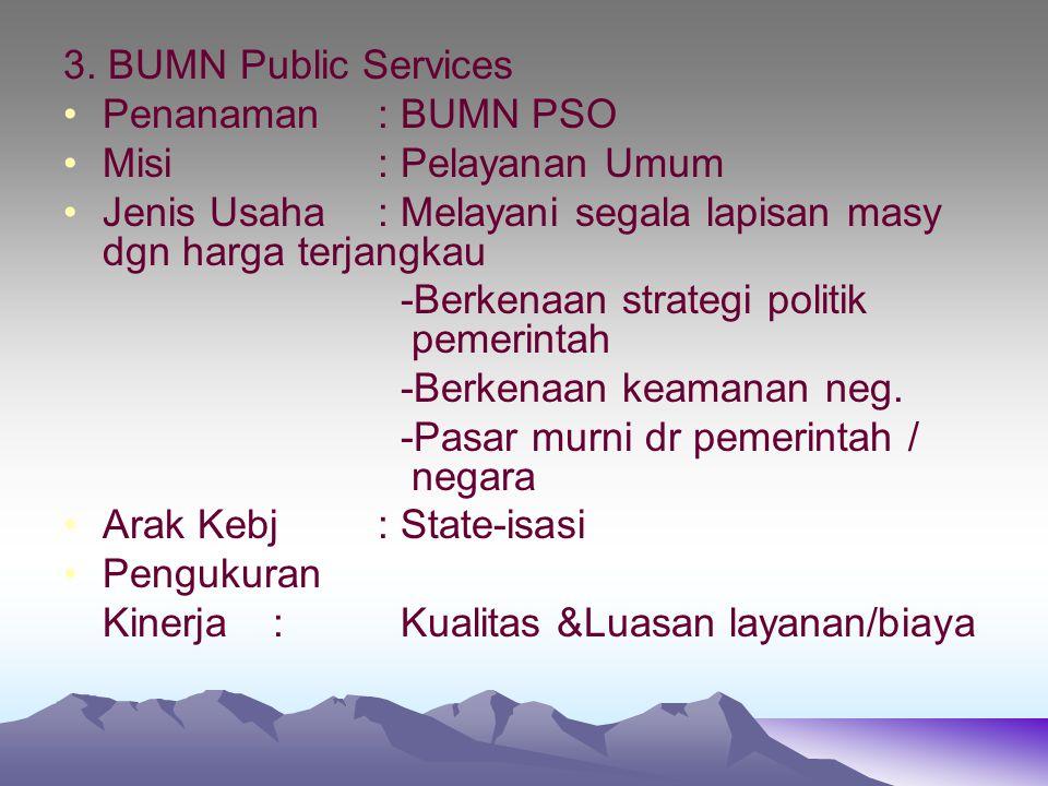 3. BUMN Public Services Penanaman: BUMN PSO Misi: Pelayanan Umum Jenis Usaha: Melayani segala lapisan masy dgn harga terjangkau -Berkenaan strategi po