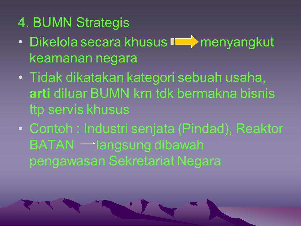 4. BUMN Strategis Dikelola secara khusus menyangkut keamanan negara Tidak dikatakan kategori sebuah usaha, arti diluar BUMN krn tdk bermakna bisnis tt