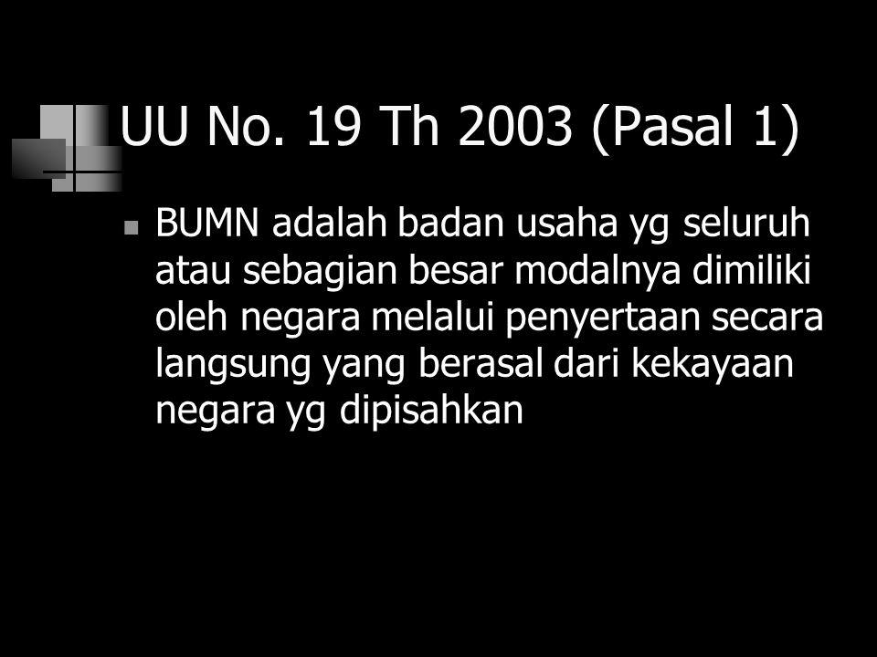 UU No. 19 Th 2003 (Pasal 1) BUMN adalah badan usaha yg seluruh atau sebagian besar modalnya dimiliki oleh negara melalui penyertaan secara langsung ya