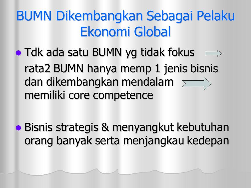 BUMN Dikembangkan Sebagai Pelaku Ekonomi Global Tdk ada satu BUMN yg tidak fokus Tdk ada satu BUMN yg tidak fokus rata2 BUMN hanya memp 1 jenis bisnis
