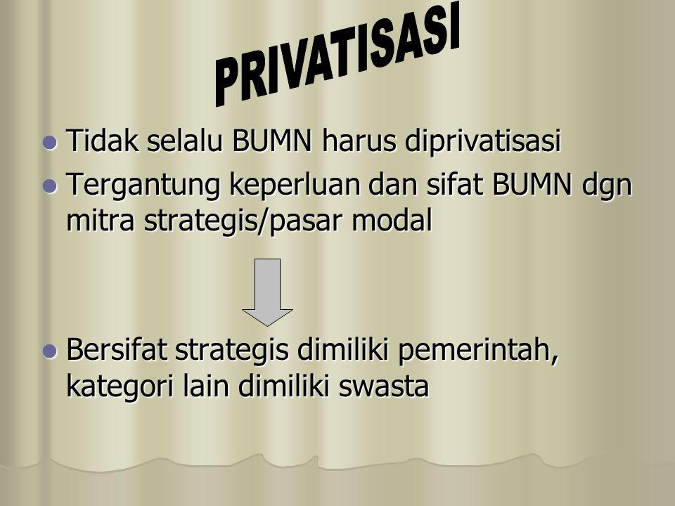 Tidak selalu BUMN harus diprivatisasi Tidak selalu BUMN harus diprivatisasi Tergantung keperluan dan sifat BUMN dgn mitra strategis/pasar modal Tergan