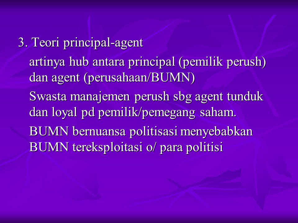 3. Teori principal-agent artinya hub antara principal (pemilik perush) dan agent (perusahaan/BUMN) Swasta manajemen perush sbg agent tunduk dan loyal