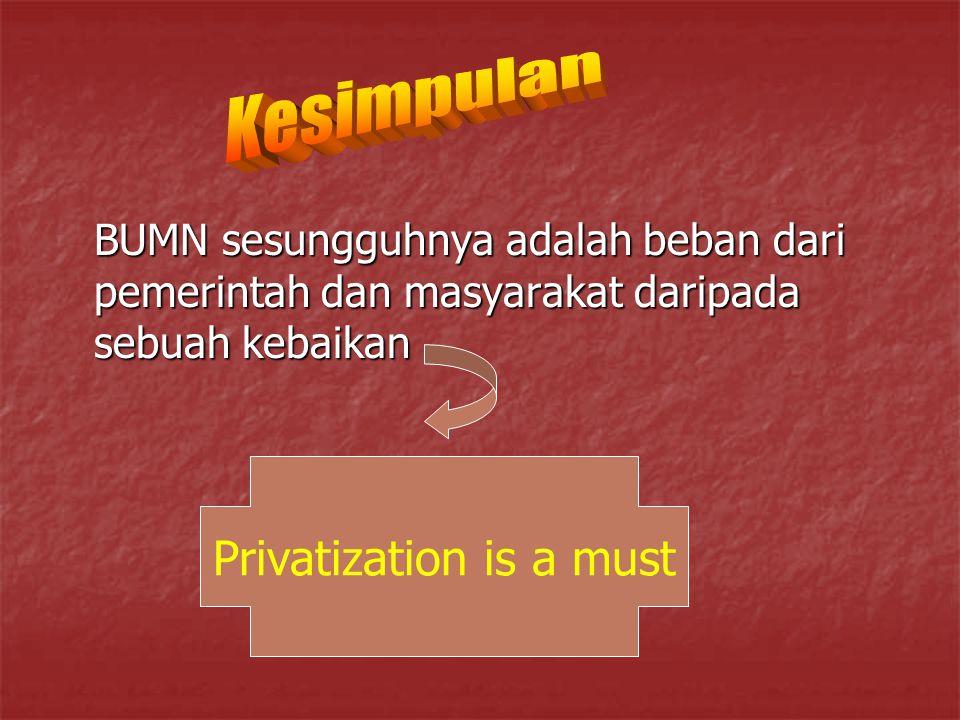 BUMN sesungguhnya adalah beban dari pemerintah dan masyarakat daripada sebuah kebaikan Privatization is a must