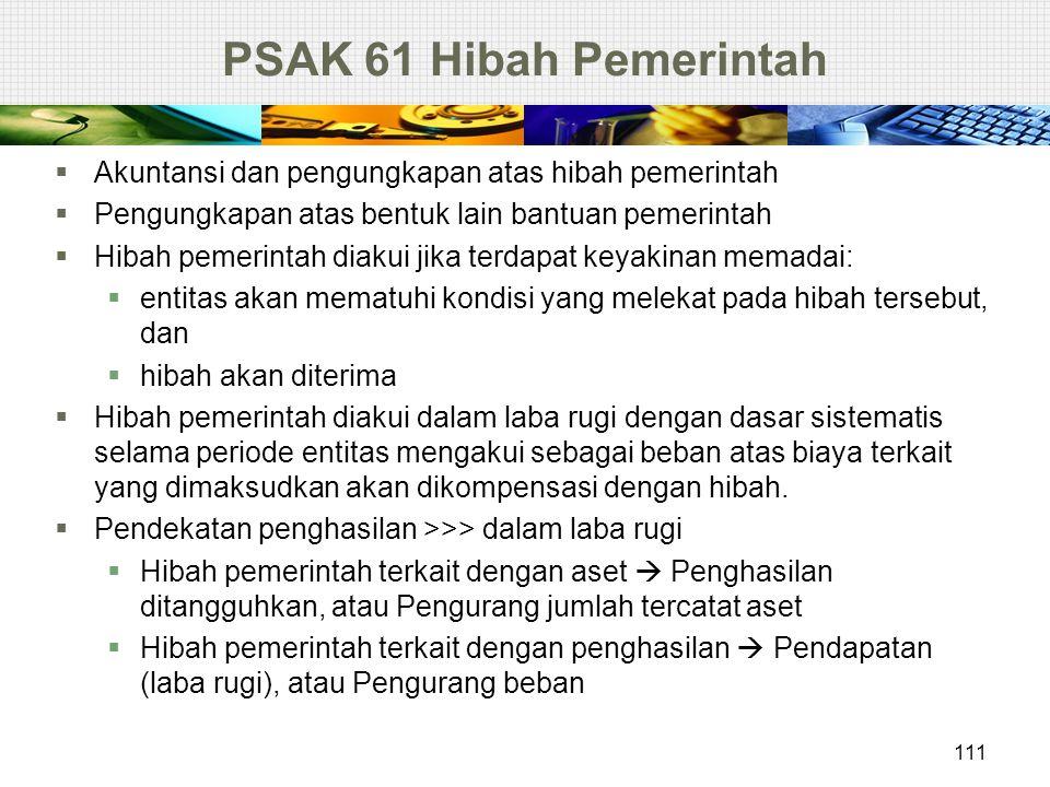 PSAK 61 Hibah Pemerintah  Akuntansi dan pengungkapan atas hibah pemerintah  Pengungkapan atas bentuk lain bantuan pemerintah  Hibah pemerintah diak