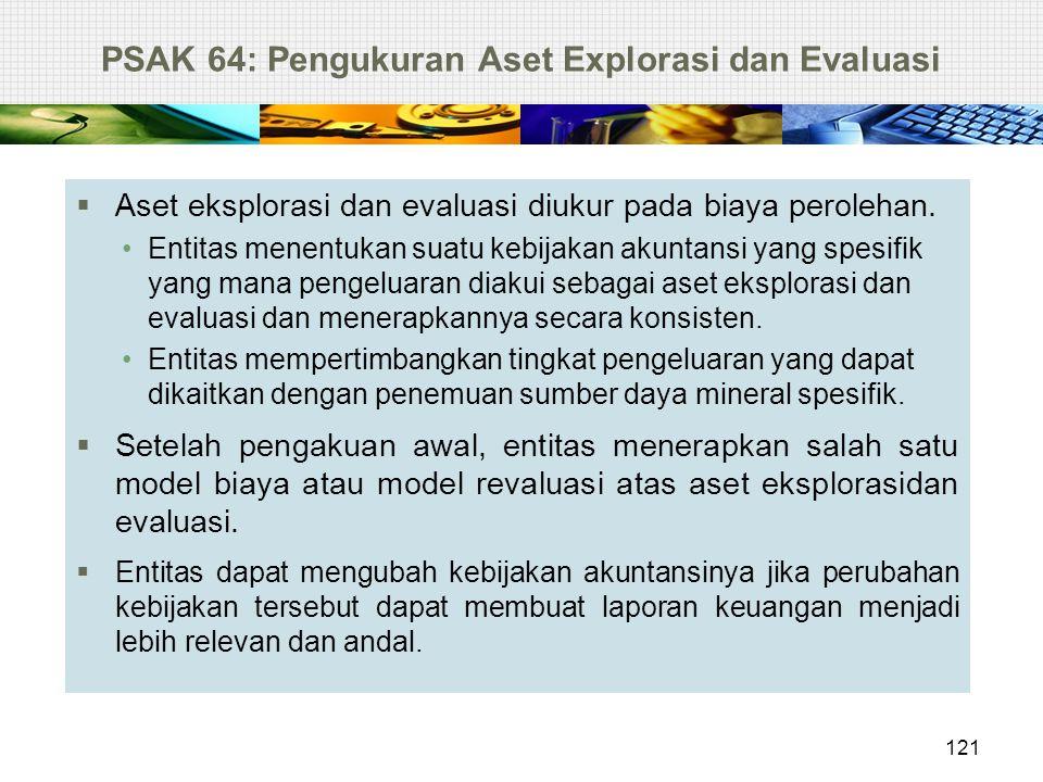 PSAK 64: Pengukuran Aset Explorasi dan Evaluasi  Aset eksplorasi dan evaluasi diukur pada biaya perolehan. Entitas menentukan suatu kebijakan akuntan