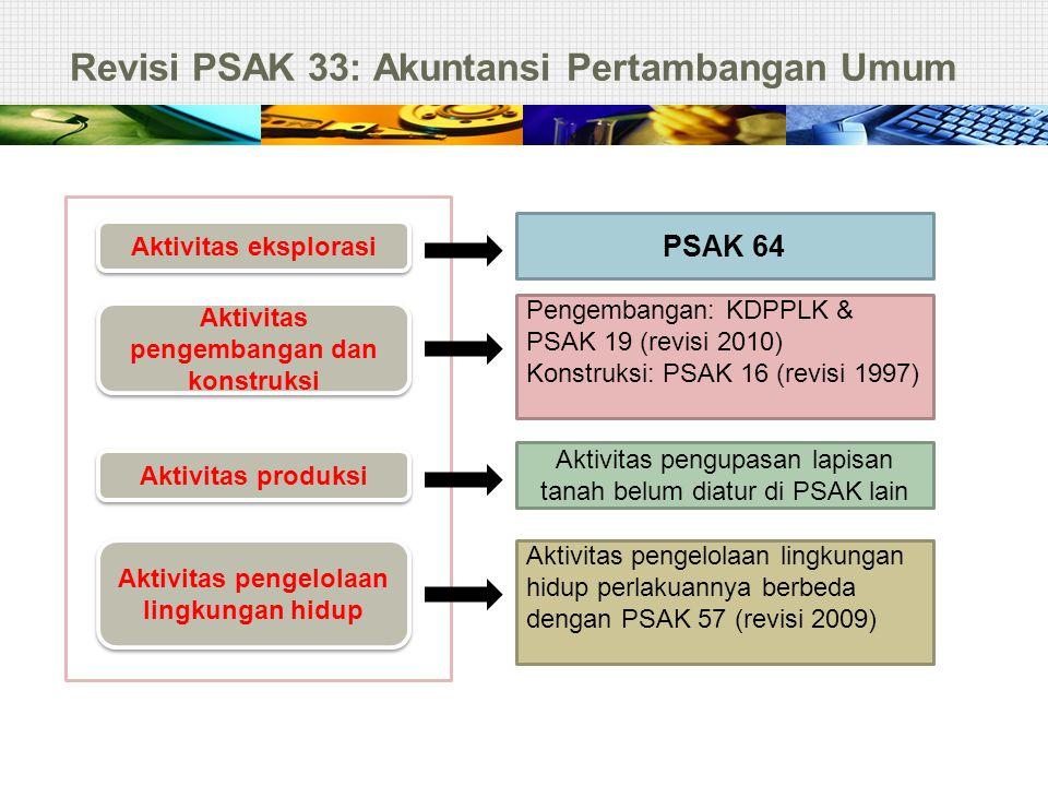 Revisi PSAK 33: Akuntansi Pertambangan Umum Aktivitas eksplorasi Aktivitas pengembangan dan konstruksi Aktivitas produksi Aktivitas pengelolaan lingku