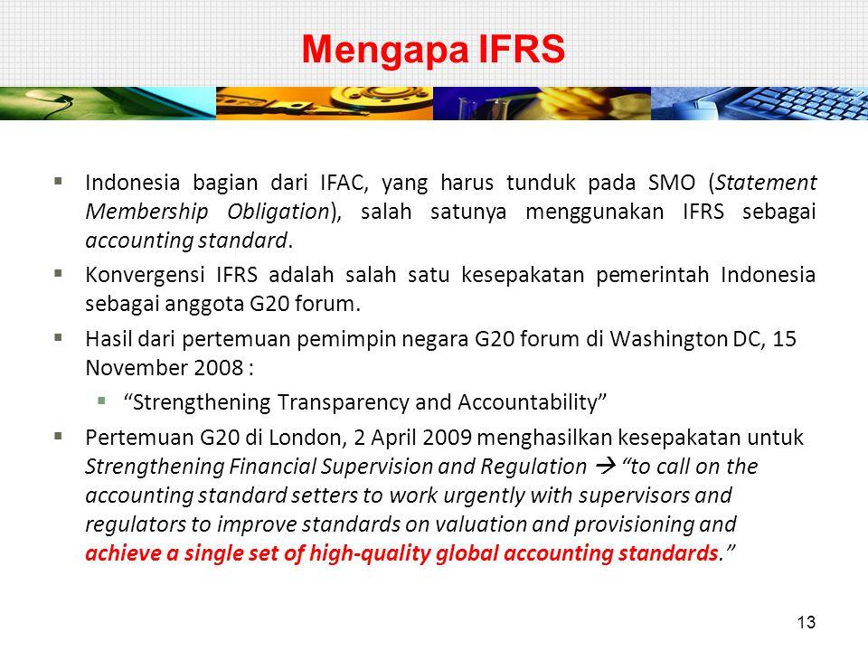Mengapa IFRS  Indonesia bagian dari IFAC, yang harus tunduk pada SMO (Statement Membership Obligation), salah satunya menggunakan IFRS sebagai accoun