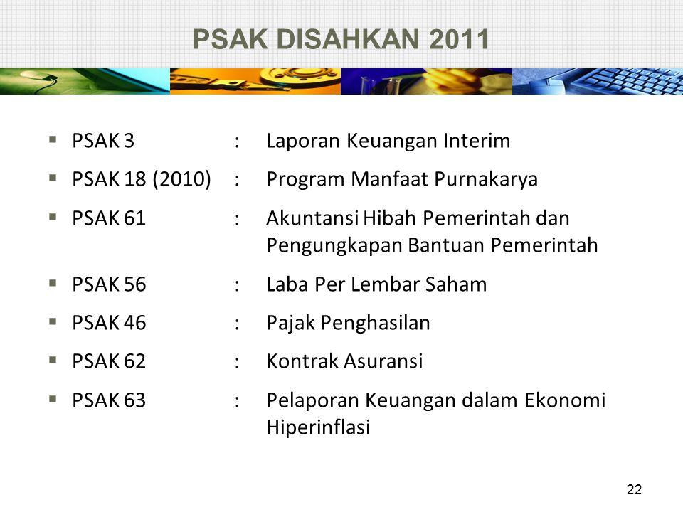 PSAK DISAHKAN 2011  PSAK 3 : Laporan Keuangan Interim  PSAK 18 (2010): Program Manfaat Purnakarya  PSAK 61: Akuntansi Hibah Pemerintah dan Pengungk