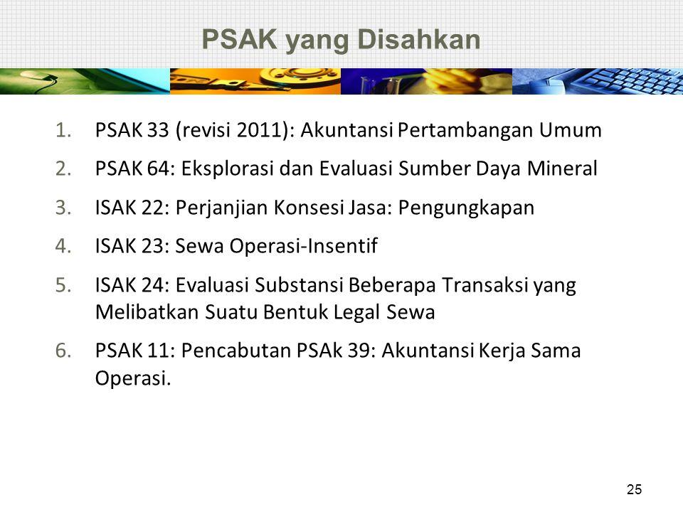 PSAK yang Disahkan 1.PSAK 33 (revisi 2011): Akuntansi Pertambangan Umum 2.PSAK 64: Eksplorasi dan Evaluasi Sumber Daya Mineral 3.ISAK 22: Perjanjian K