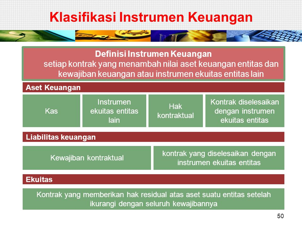 Klasifikasi Instrumen Keuangan 50 Definisi Instrumen Keuangan setiap kontrak yang menambah nilai aset keuangan entitas dan kewajiban keuangan atau ins