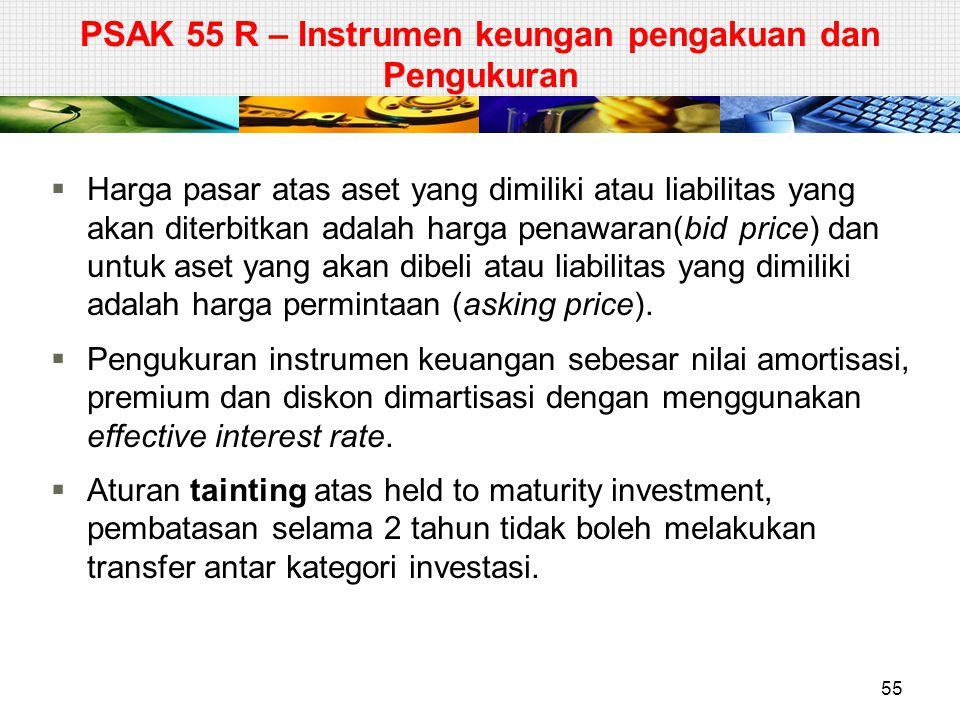  Harga pasar atas aset yang dimiliki atau liabilitas yang akan diterbitkan adalah harga penawaran(bid price) dan untuk aset yang akan dibeli atau lia