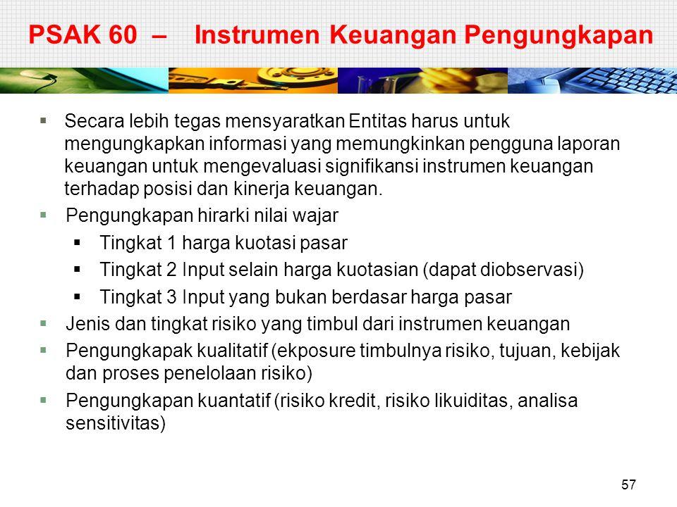 PSAK 60 – Instrumen Keuangan Pengungkapan  Secara lebih tegas mensyaratkan Entitas harus untuk mengungkapkan informasi yang memungkinkan pengguna lap