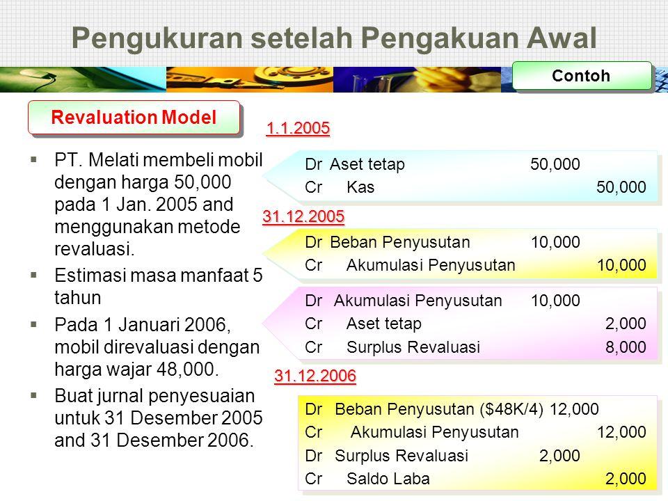 Pengukuran setelah Pengakuan Awal  PT. Melati membeli mobil dengan harga 50,000 pada 1 Jan. 2005 and menggunakan metode revaluasi.  Estimasi masa ma