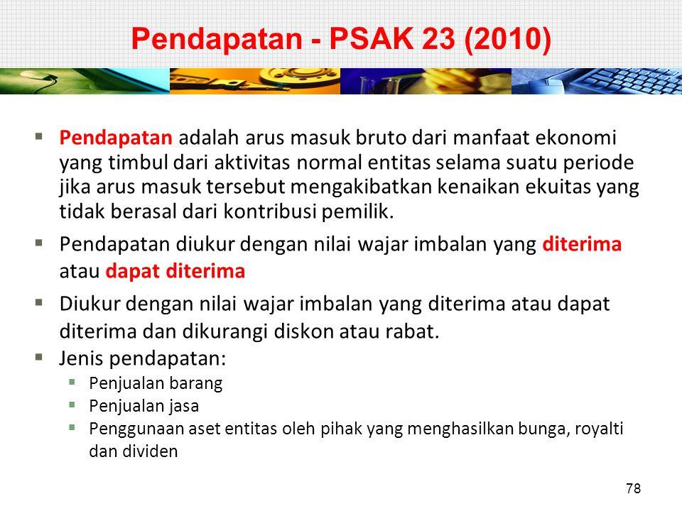 Pendapatan - PSAK 23 (2010)  Pendapatan adalah arus masuk bruto dari manfaat ekonomi yang timbul dari aktivitas normal entitas selama suatu periode j