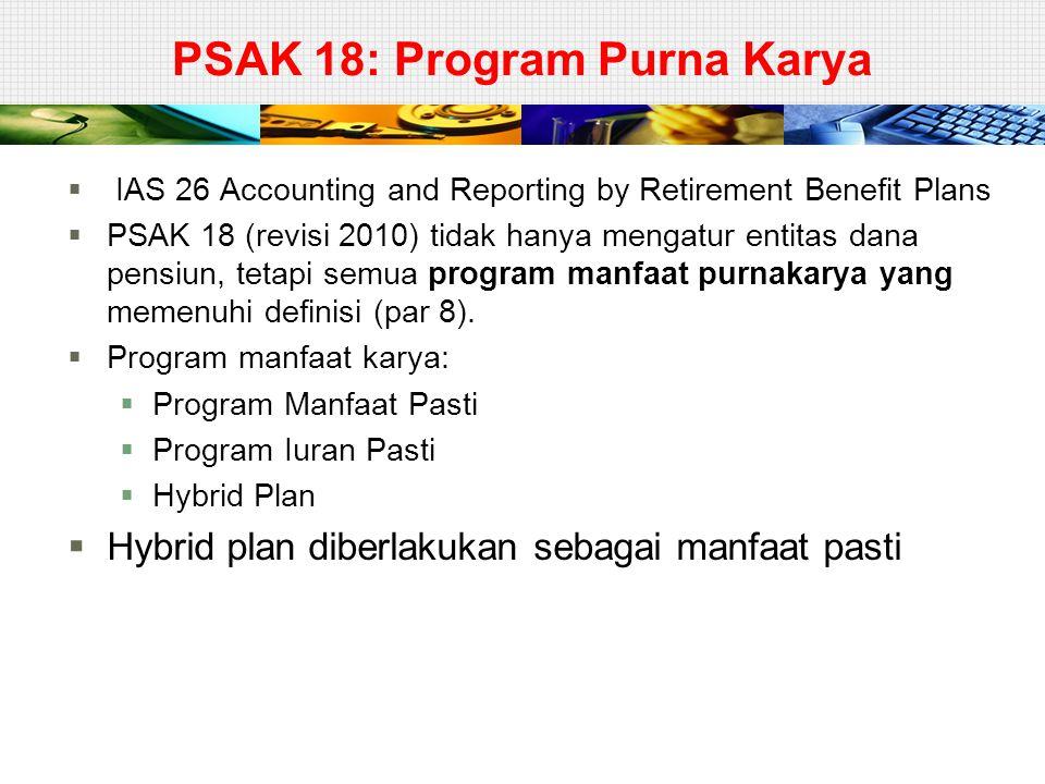 PSAK 18: Program Purna Karya  IAS 26 Accounting and Reporting by Retirement Benefit Plans  PSAK 18 (revisi 2010) tidak hanya mengatur entitas dana p