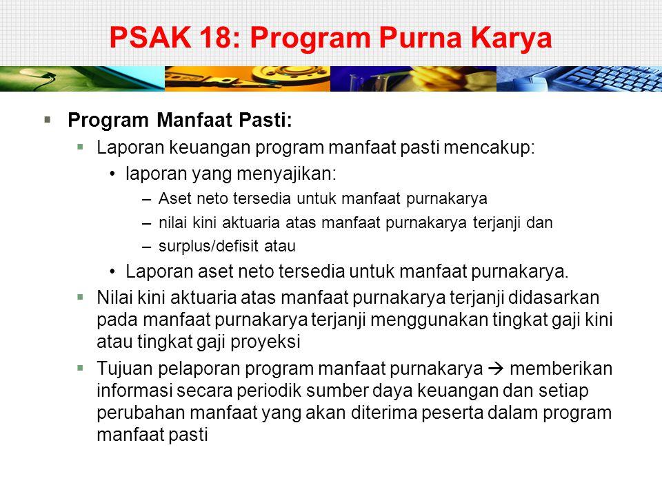 PSAK 18: Program Purna Karya  Program Manfaat Pasti:  Laporan keuangan program manfaat pasti mencakup: laporan yang menyajikan: –Aset neto tersedia
